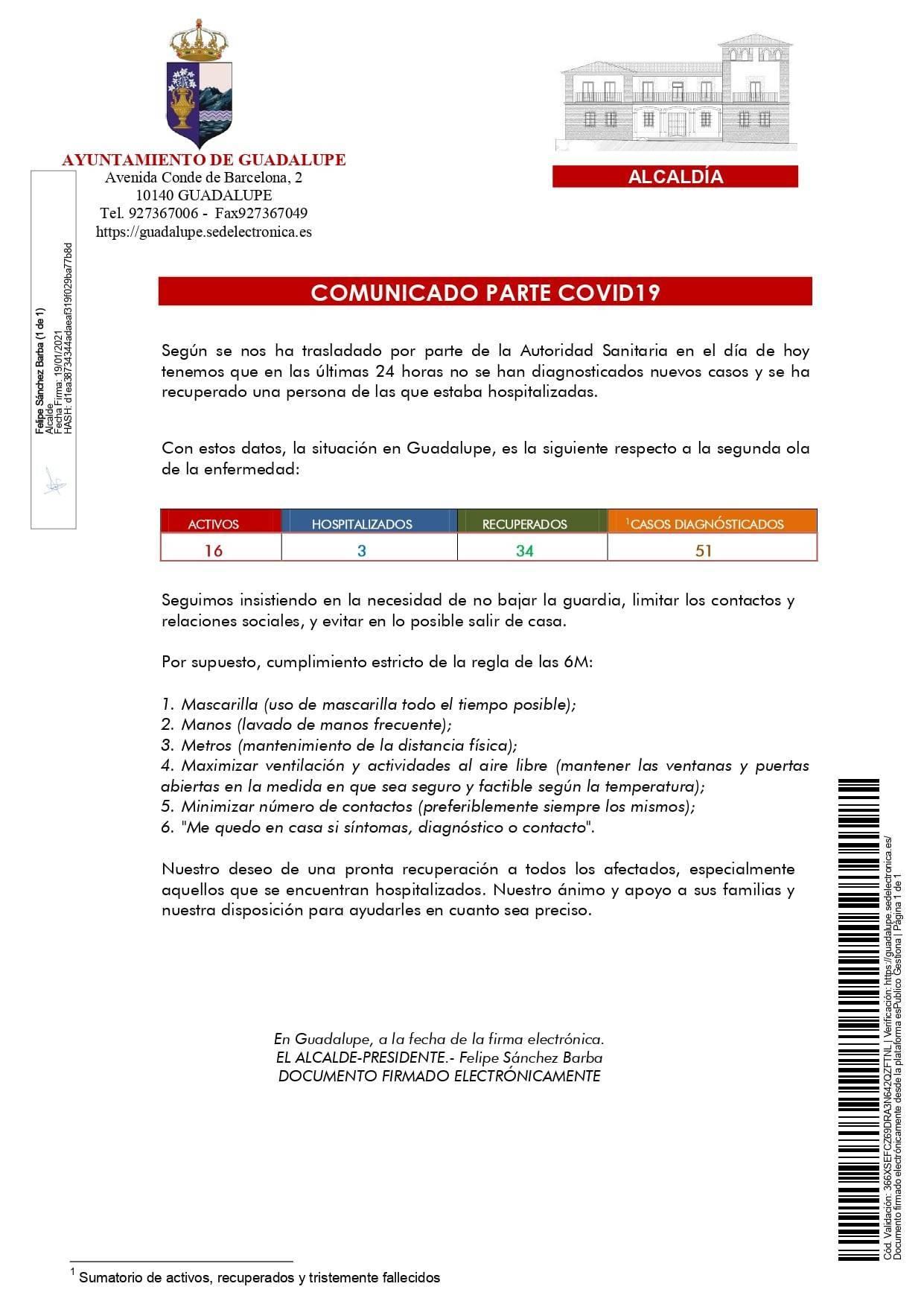 2 nuevos casos y 6 altas de COVID-19 (enero 2021) - Guadalupe (Cáceres) 1