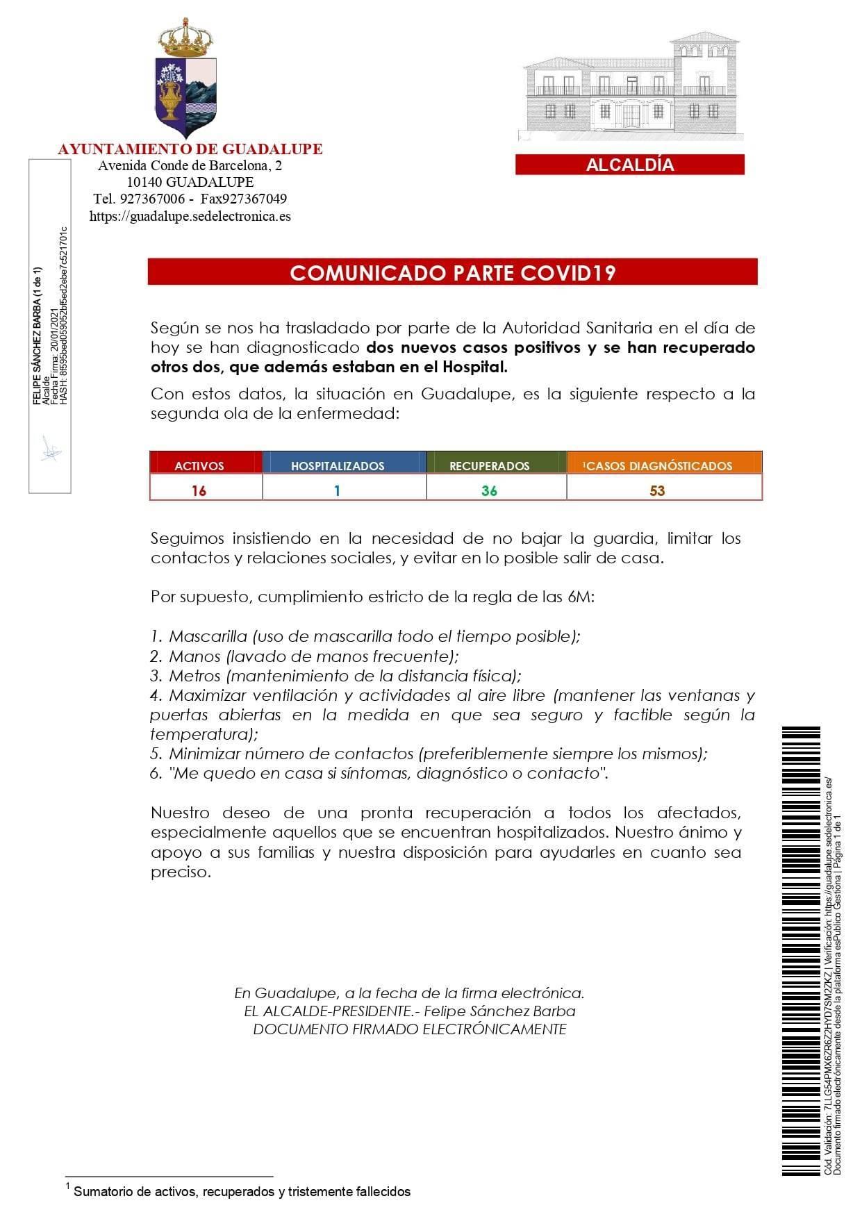 2 nuevos casos y 6 altas de COVID-19 (enero 2021) - Guadalupe (Cáceres) 2