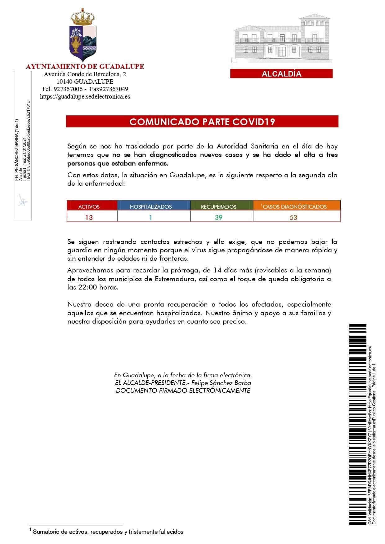 2 nuevos casos y 6 altas de COVID-19 (enero 2021) - Guadalupe (Cáceres) 3
