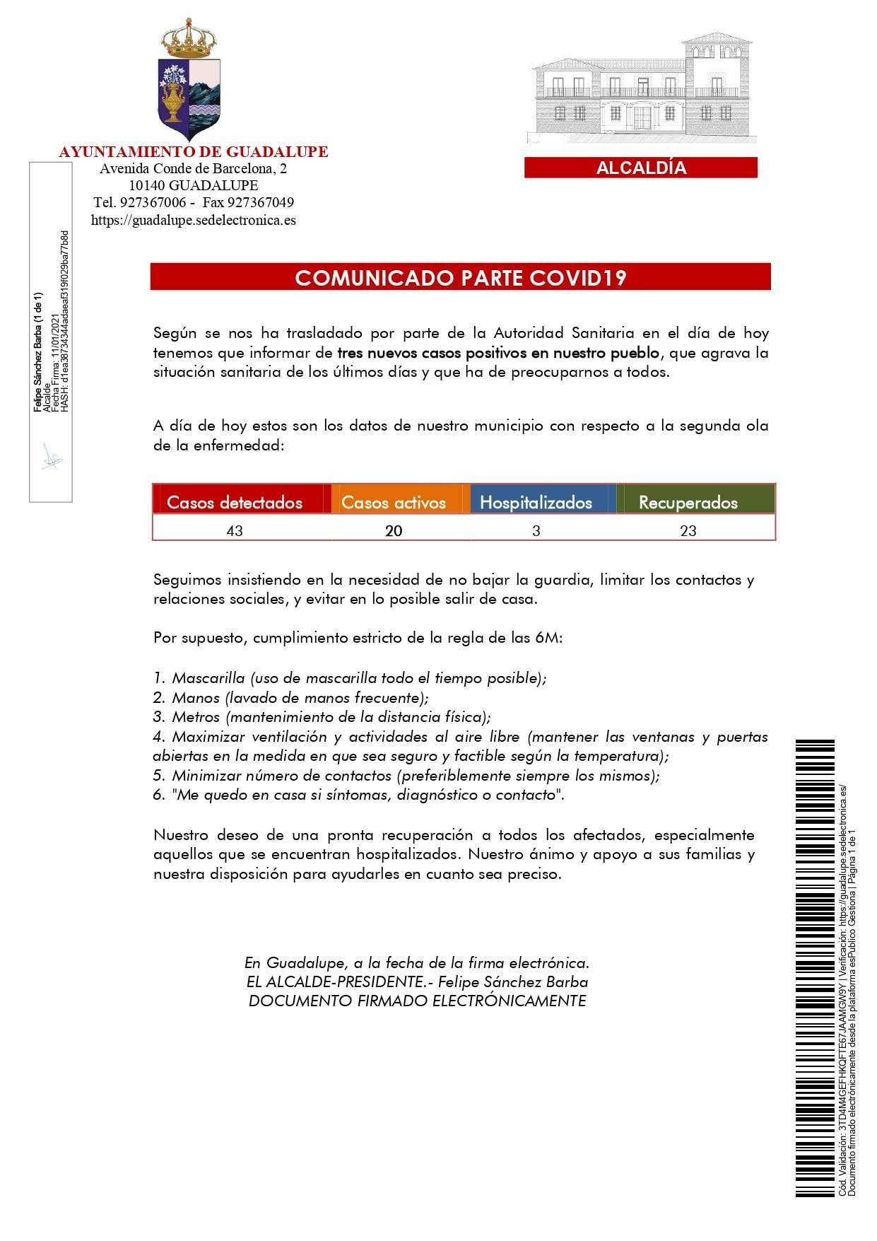 20 casos positivos activos de COVID-19 (enero 2021) - Guadalupe (Cáceres)