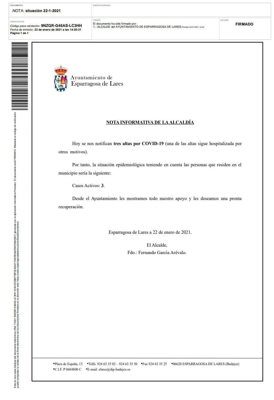 3 casos positivos activos de COVID-19 (enero 2021) - Esparragosa de Lares (Badajoz)
