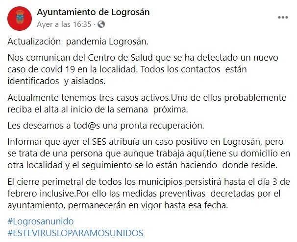 3 casos positivos activos de COVID-19 (enero 2021) - Logrosán (Cáceres)