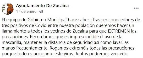 3 casos positivos de COVID-19 (enero 2021) - Zucaina (Castellón)