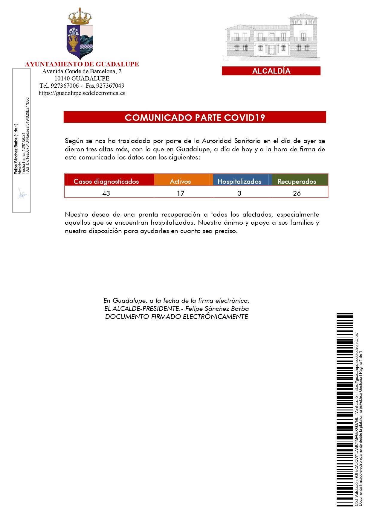 3 nuevas altas de COVID-19 (enero 2021) - Guadalupe (Cáceres)