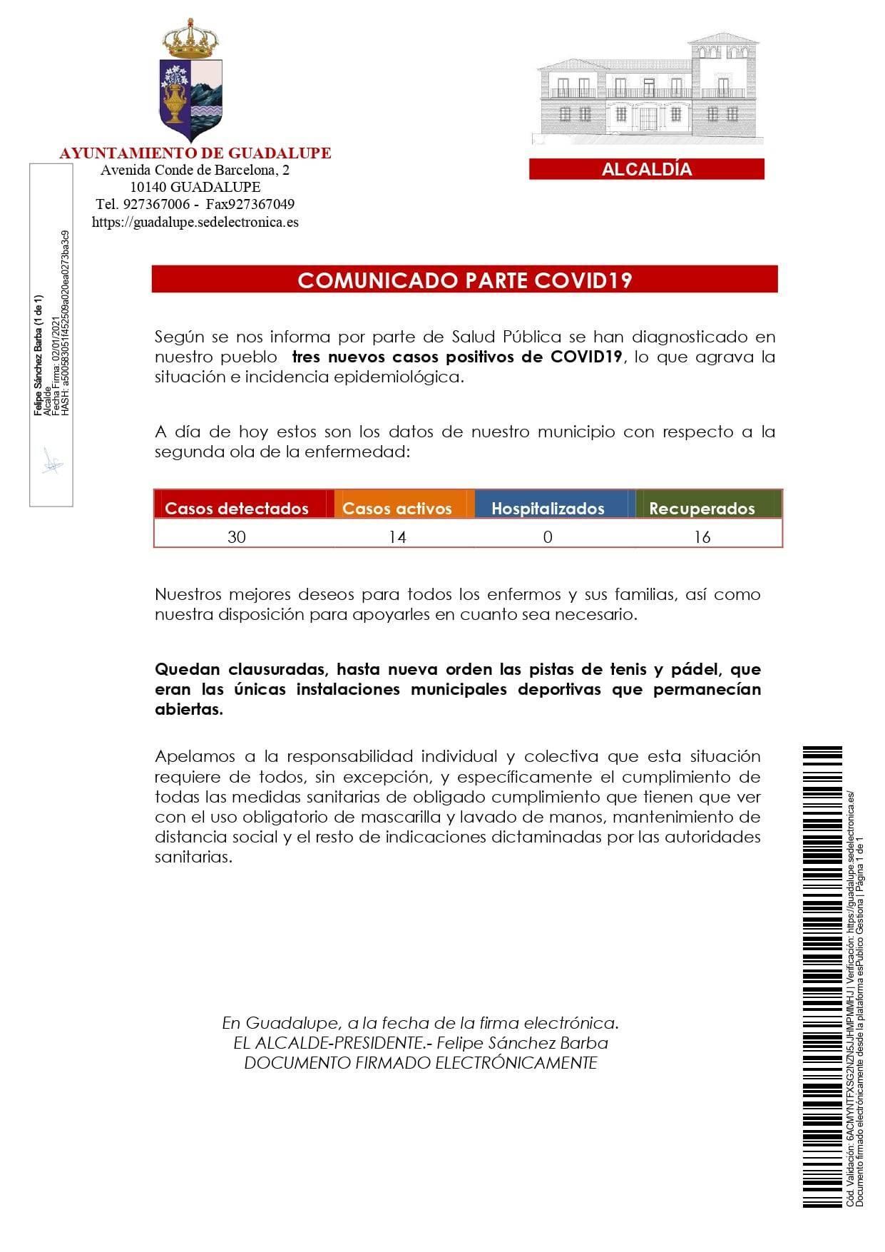 3 nuevos casos positivos de COVID-19 (enero 2021) - Guadalupe (Cáceres)