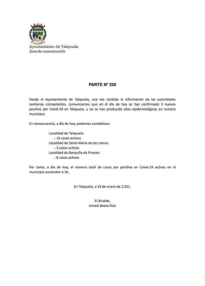 3 nuevos casos positivos de COVID-19 (enero 2021) - Talayuela (Cáceres)