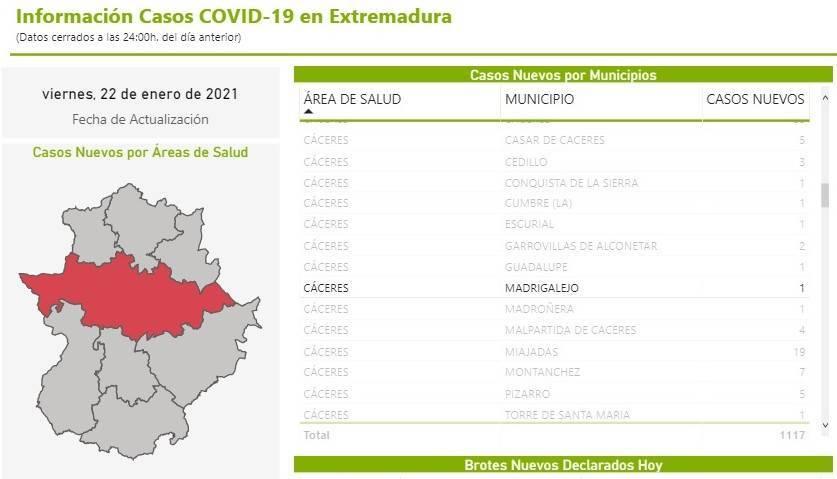 39 casos positivos activos de COVID-19 (enero 2021) - Madrigalejo (Cáceres)