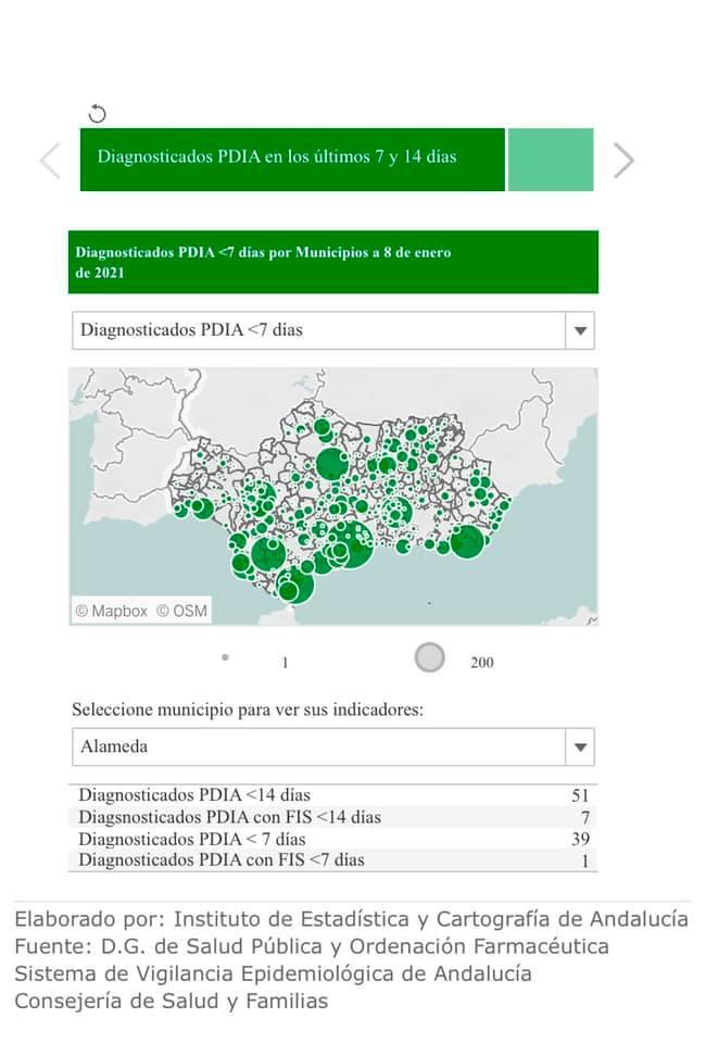 39 nuevos casos positivos de COVID-19 (enero 2021) - Alameda (Málaga)