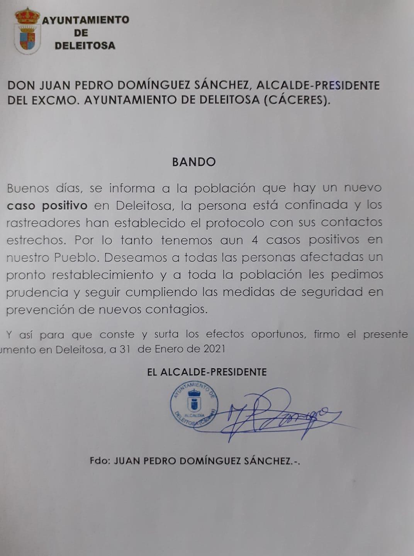 4 casos positivos activos de COVID-19 (enero 2021) - Deleitosa (Cáceres)