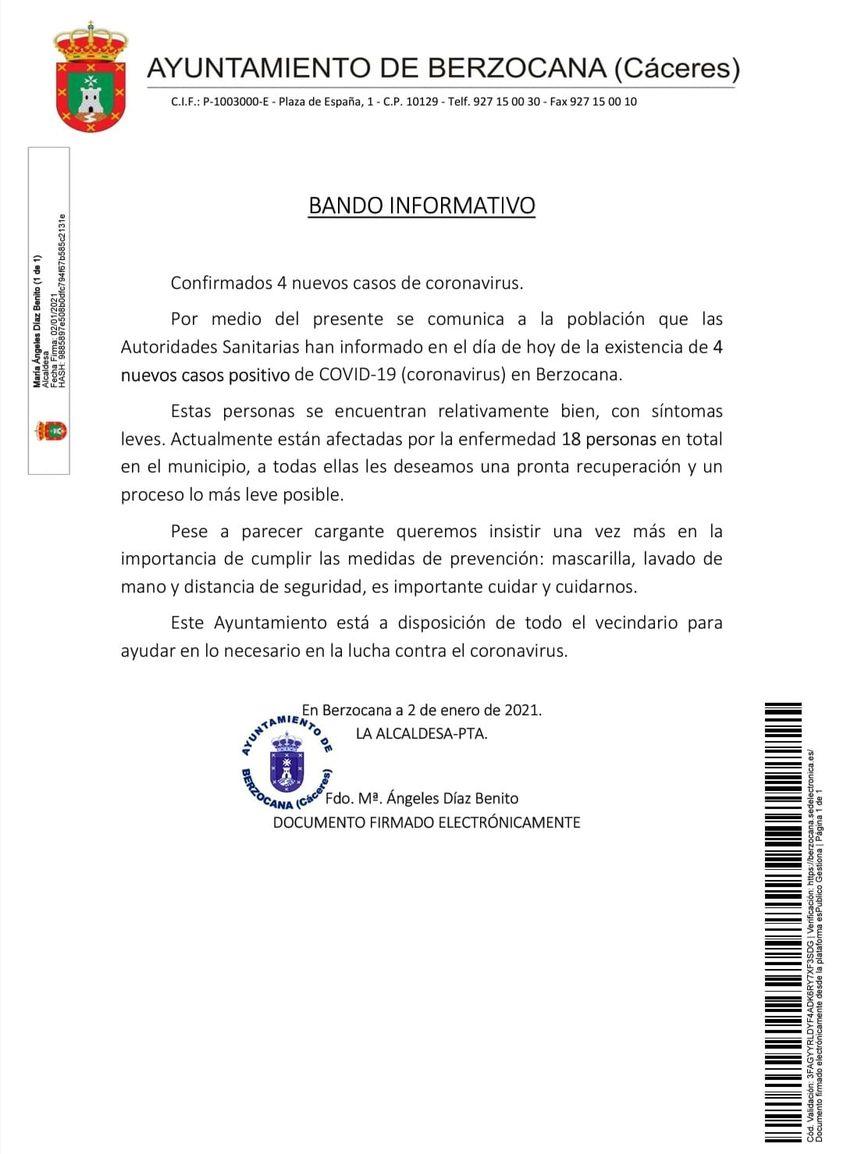 4 nuevos casos positivos de COVID-19 (enero 2021) - Berzocana (Cáceres)