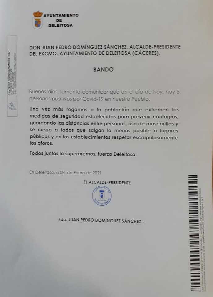 5 casos positivos activos de COVID-19 (enero 2021) - Deleitosa (Cáceres)