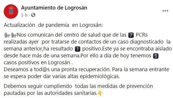 5 casos positivos activos de COVID-19 (enero 2021) - Logrosán (Cáceres)
