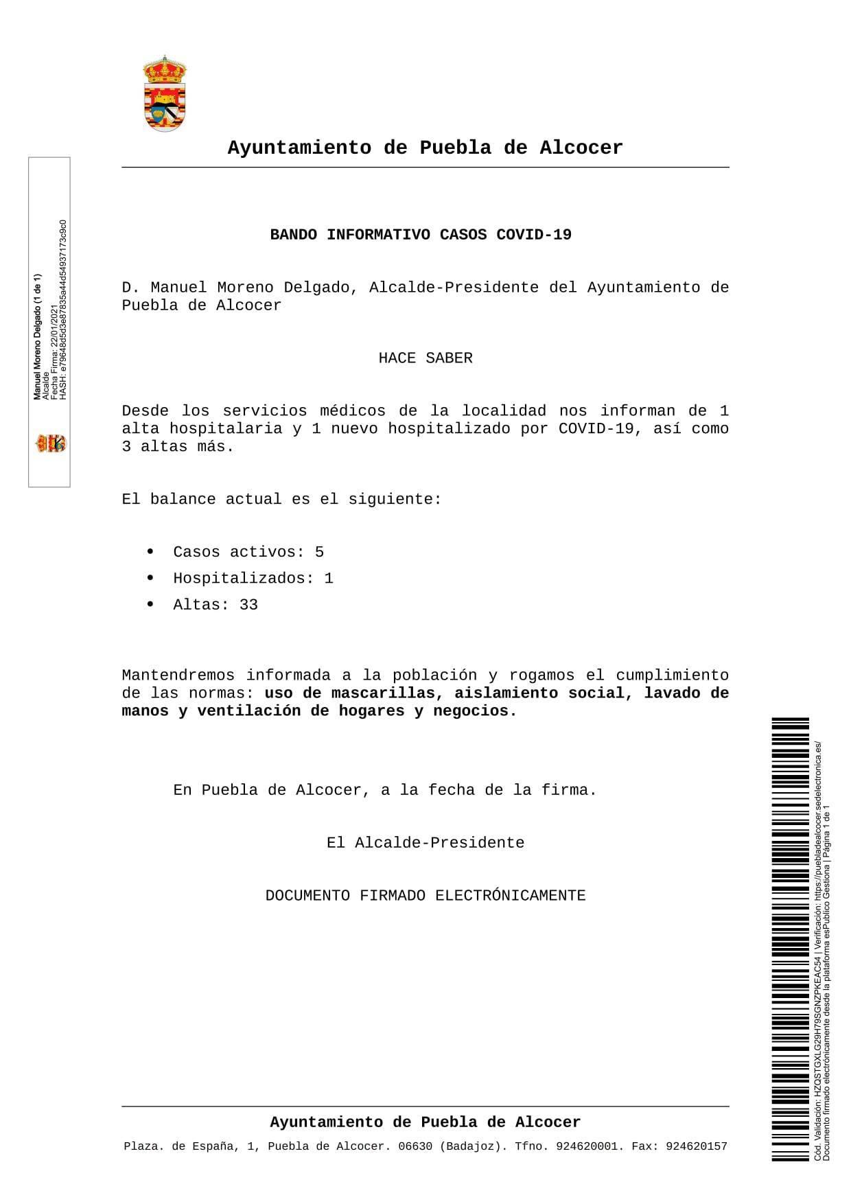 5 casos positivos activos de COVID-19 (enero 2021) - Puebla de Alcocer (Badajoz)