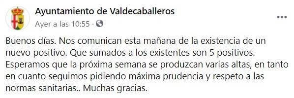 5 casos positivos activos de COVID-19 (enero 2021) - Valdecaballeros (Badajoz)