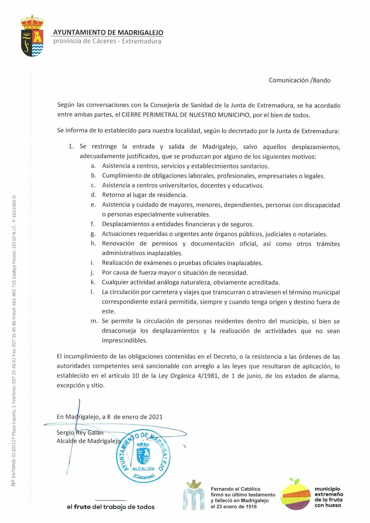 57 casos positivos y cierre perimetral por COVID-19 (enero 2021) - Madrigalejo (Cáceres) 2