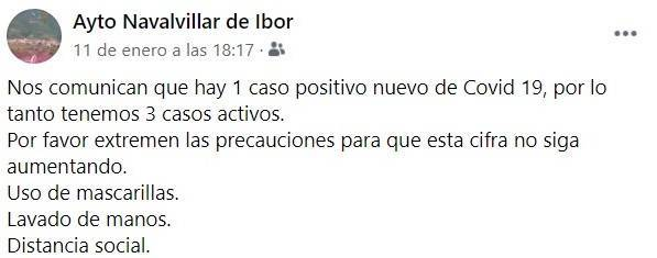 6 casos positivos activos de COVID-19 (enero 2021) - Navalvillar de Ibor (Cáceres) 1