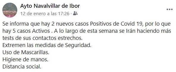 6 casos positivos activos de COVID-19 (enero 2021) - Navalvillar de Ibor (Cáceres) 2