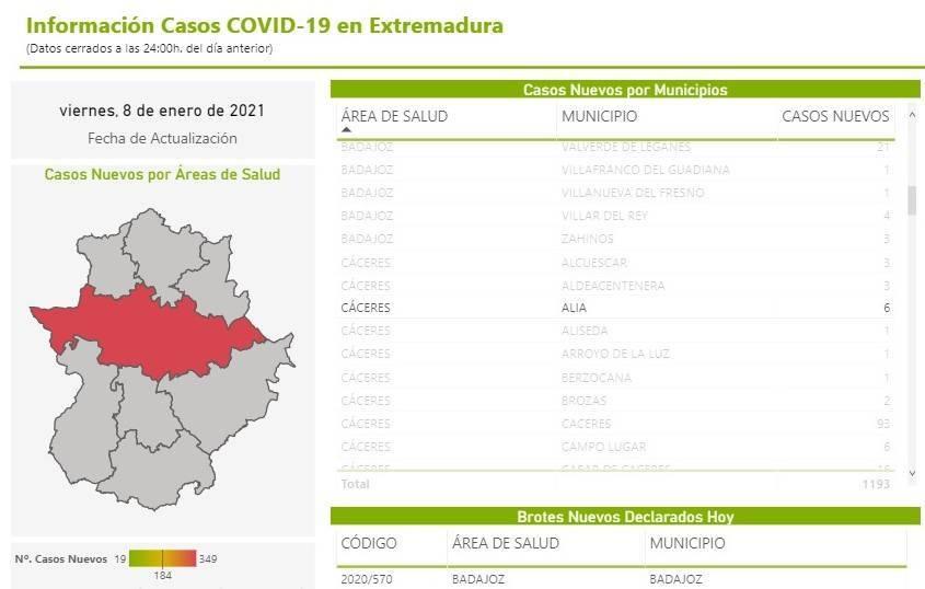 6 nuevos casos positivos de COVID-19 (enero 2021) - Alía (Cáceres)