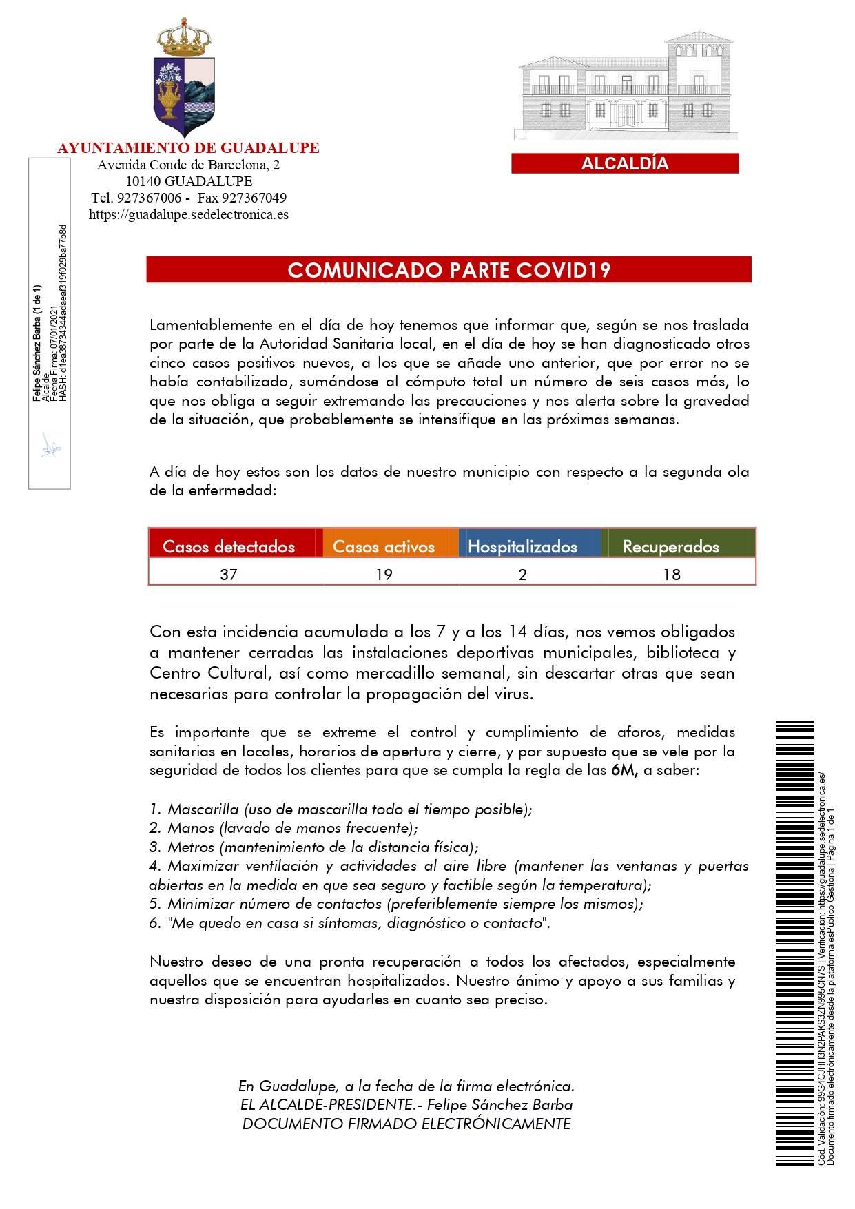 6 nuevos casos positivos de COVID-19 (enero 2021) - Guadalupe (Cáceres)