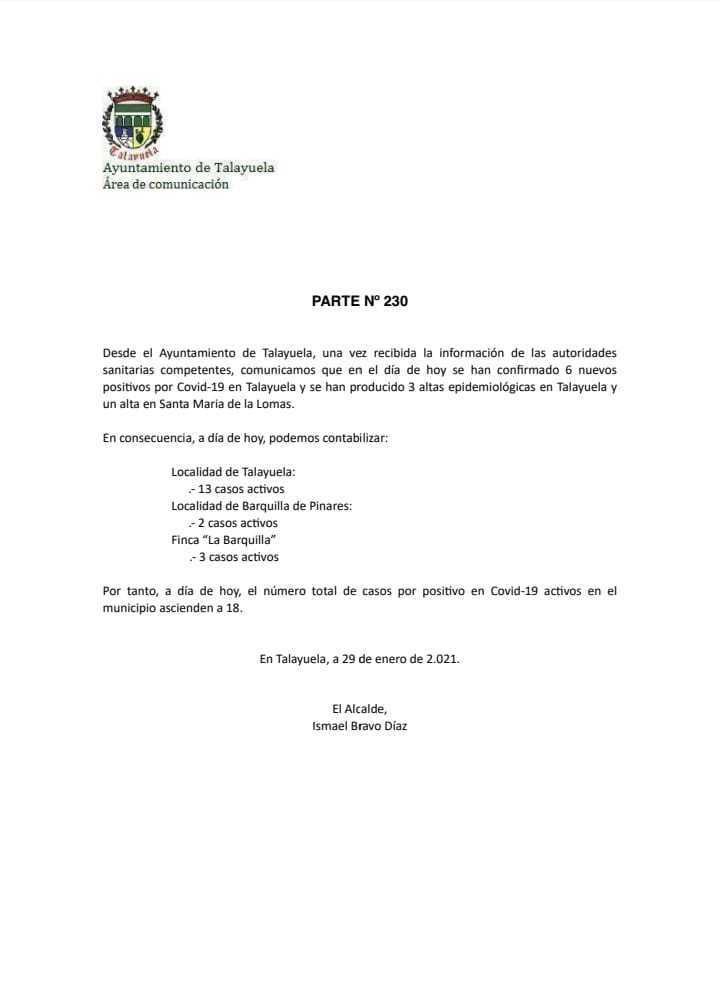 Brote con 113 casos cerrado y 6 nuevos positivos de COVID-19 (enero 2021) - Talayuela (Cáceres) 2