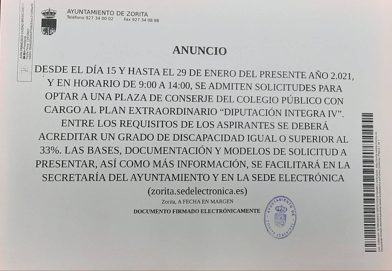 Conserje para colegio público (2021) - Zorita (Cáceres)