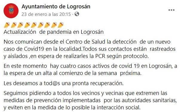 Cuatro casos positivos activos de COVID-19 (enero 2021) - Logrosán (Cáceres)