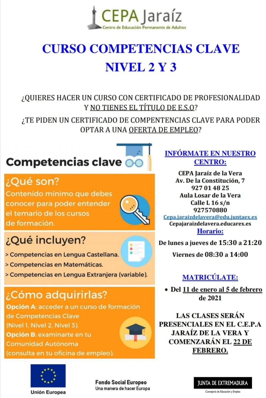 Curso de competencias clave nivel 2 y 3 (2021) - Jaraíz de la Vera (Cáceres)