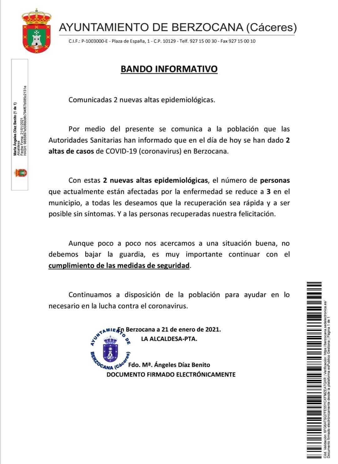 Dos nuevas altas de COVID-19 (enero 2021) - Berzocana (Cáceres)