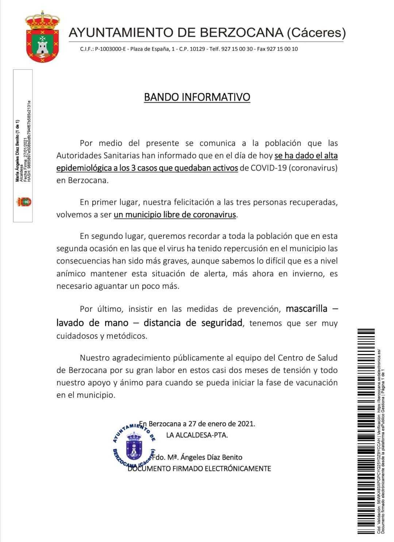 Libre de COVID-19 (enero 2021) - Berzocana (Cáceres)