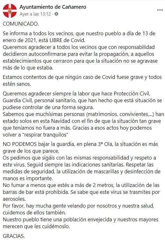 Libre de COVID-19 (enero 2021) - Cañamero (Cáceres)
