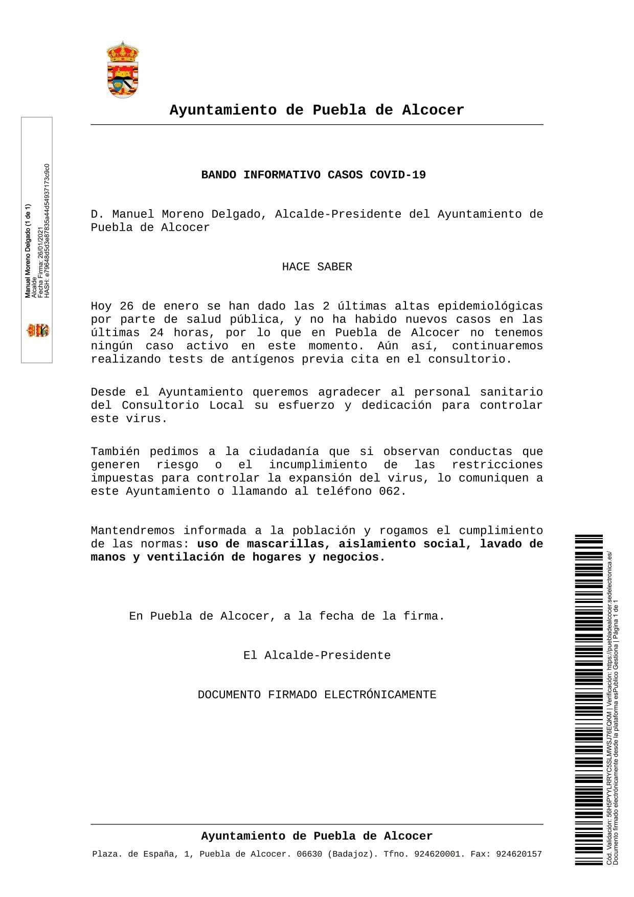 Libre de COVID-19 (enero 2021) - Puebla de Alcocer (Badajoz)