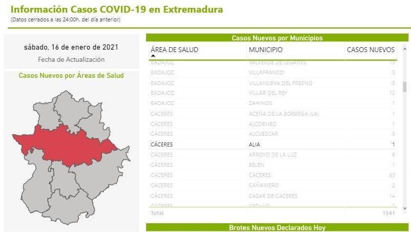 Nuevo caso positivo COVID-19 (enero 2021) - Alía (Cáceres)