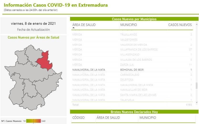 Nuevo caso positivo de COVID-19 (enero 2021) - Bohonal de Ibor (Cáceres)