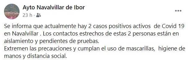Nuevo caso positivo de COVID-19 (enero 2021) - Navalvillar de Ibor (Cáceres)