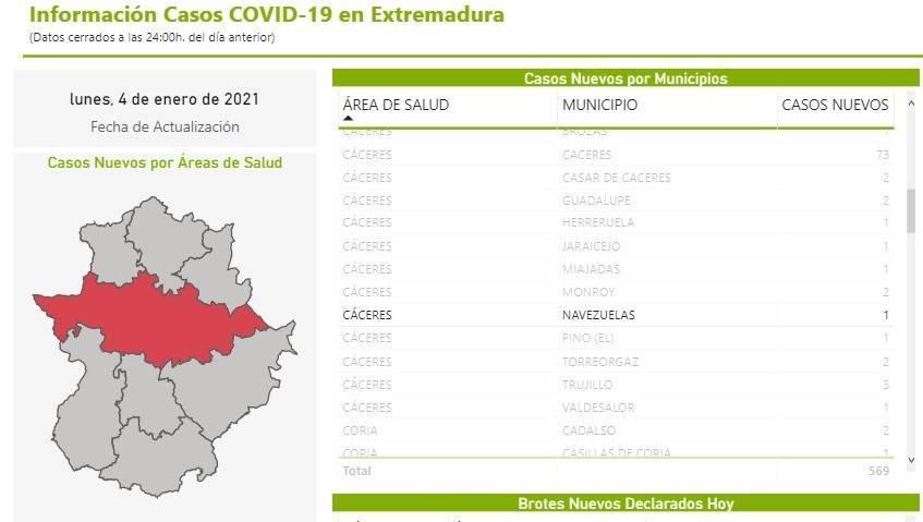 Nuevo caso positivo de COVID-19 (enero 2021) - Navezuelas (Cáceres)