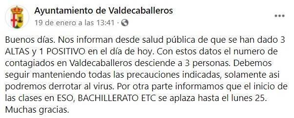 Nuevo caso positivo y 3 altas de COVID-19 (enero 2021) - Valdecaballeros (Badajoz)