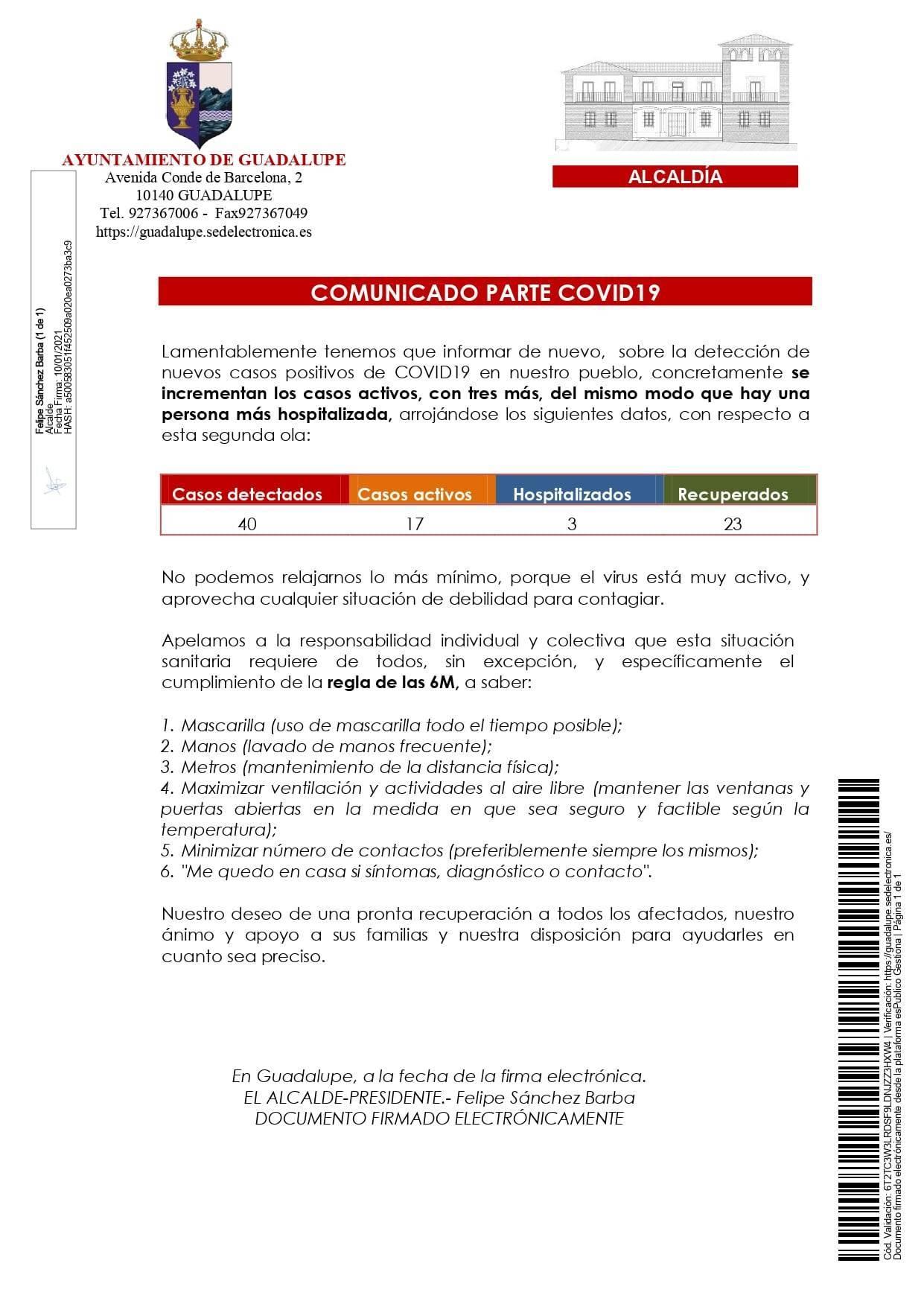 Nuevo hospitalizado y 3 casos positivos de COVID-19 (enero 2021) - Guadalupe (Cáceres) 1