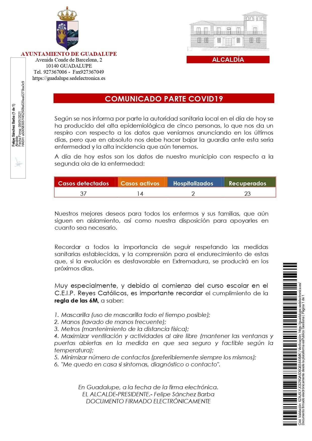 Nuevo hospitalizado y 3 casos positivos de COVID-19 (enero 2021) - Guadalupe (Cáceres) 2