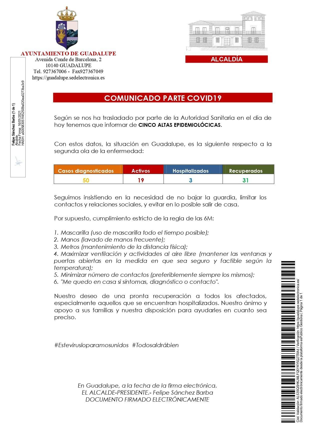 Nuevo hospitalizado y 7 altas de COVID-19 (enero 2021) - Guadalupe (Cáceres) 1