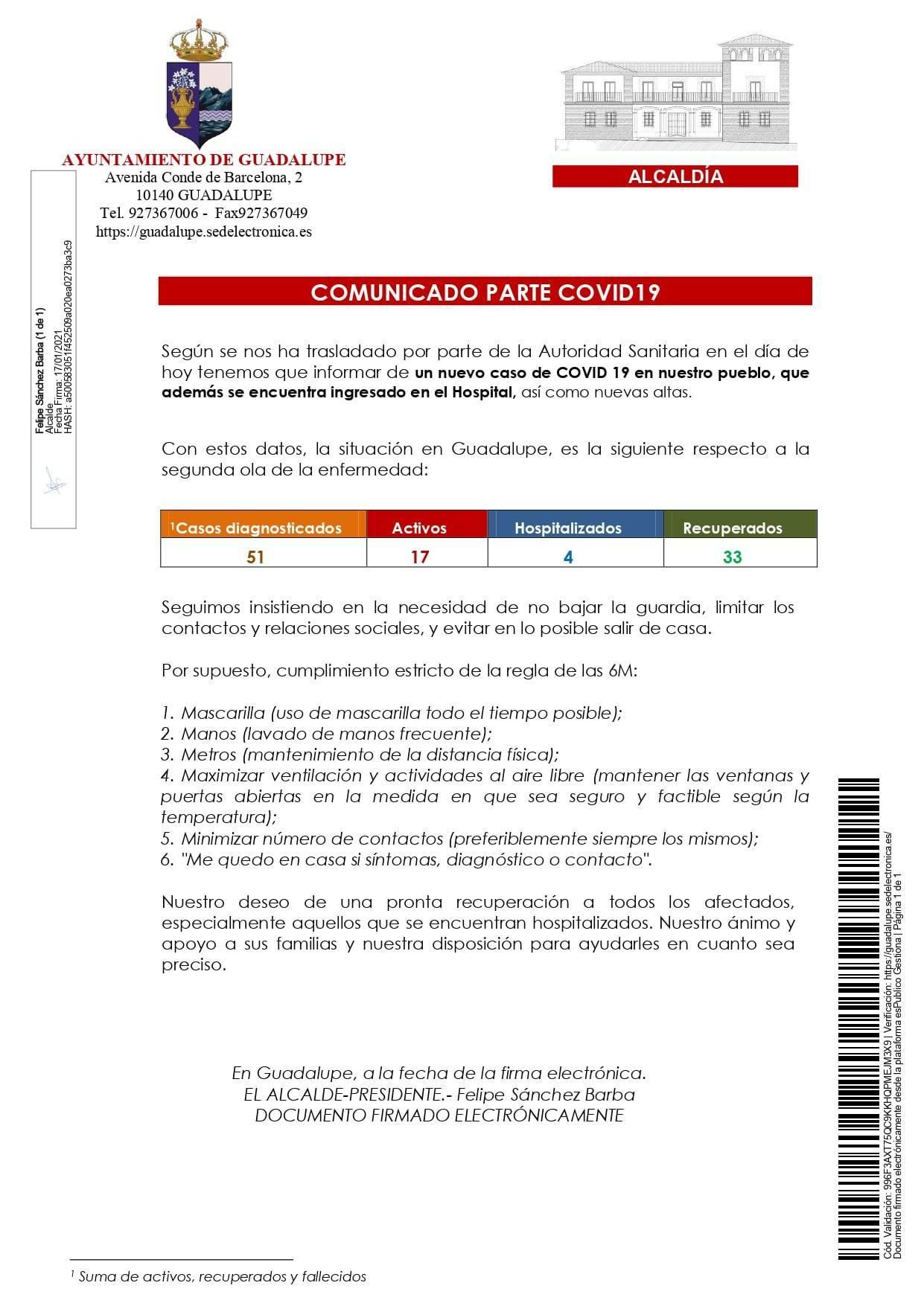 Nuevo hospitalizado y 7 altas de COVID-19 (enero 2021) - Guadalupe (Cáceres) 2
