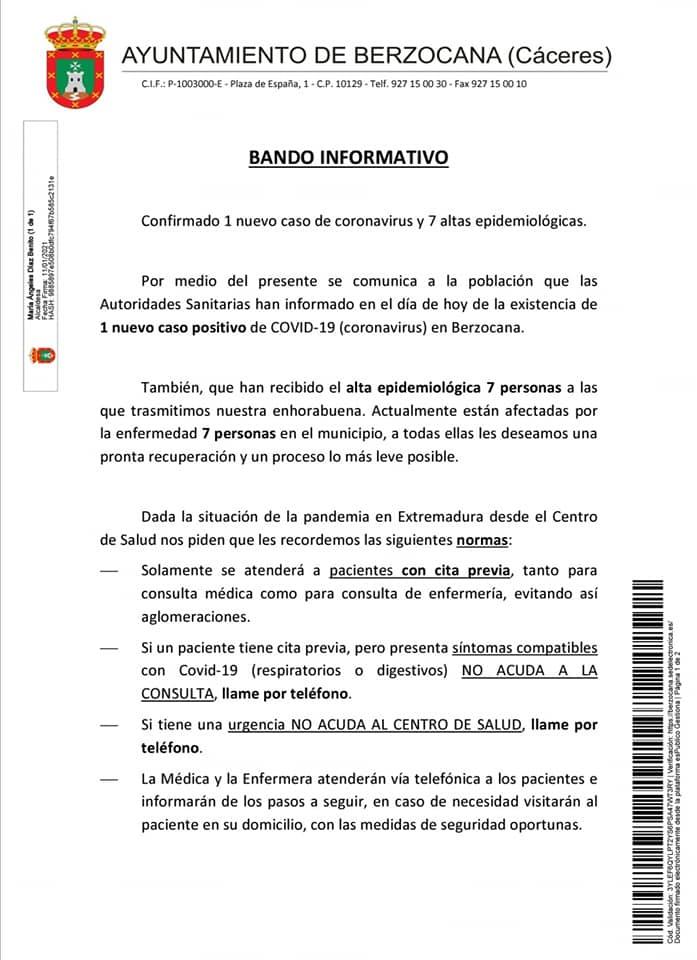 Nuevo positivo y 7 altas de COVID-19 (enero 2021) - Berzocana (Cáceres)