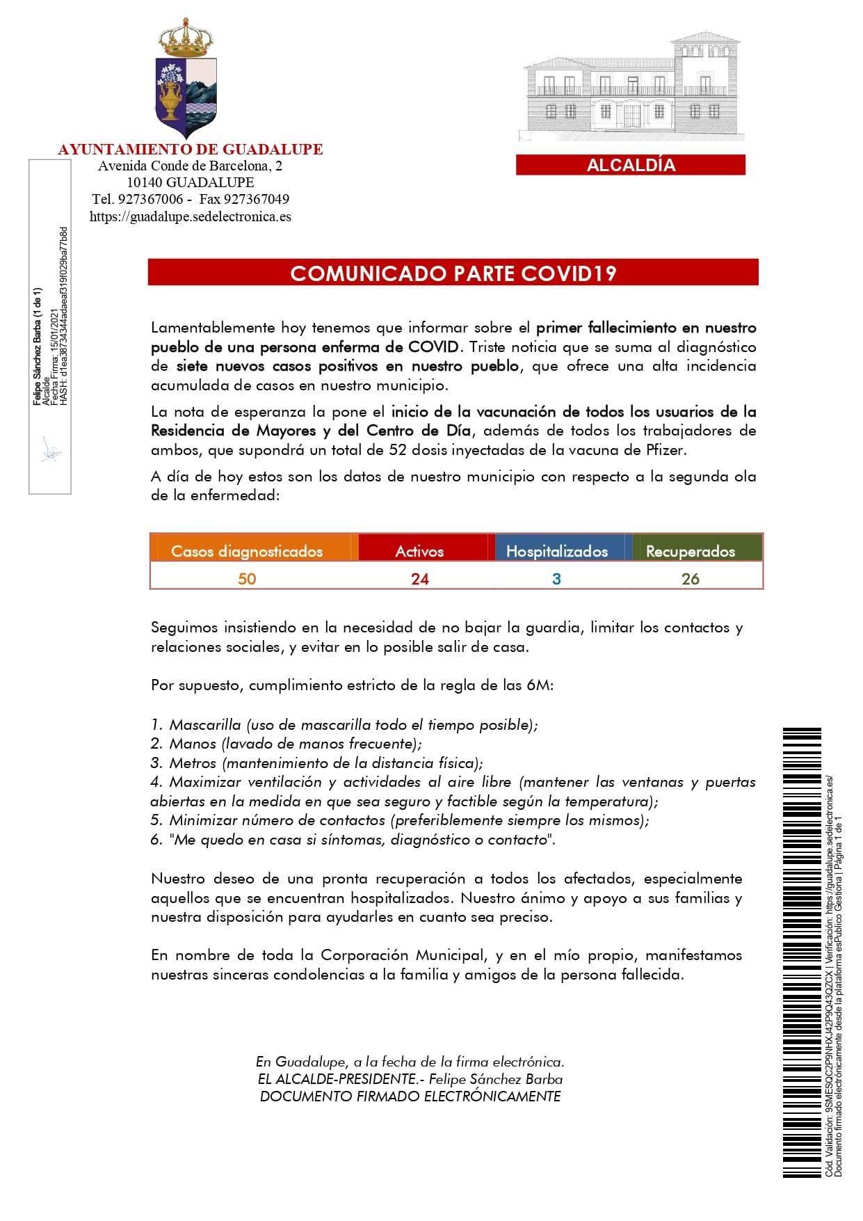 Primer fallecido y 7 nuevos casos de COVID-19 (enero 2021) - Guadalupe (Cáceres)