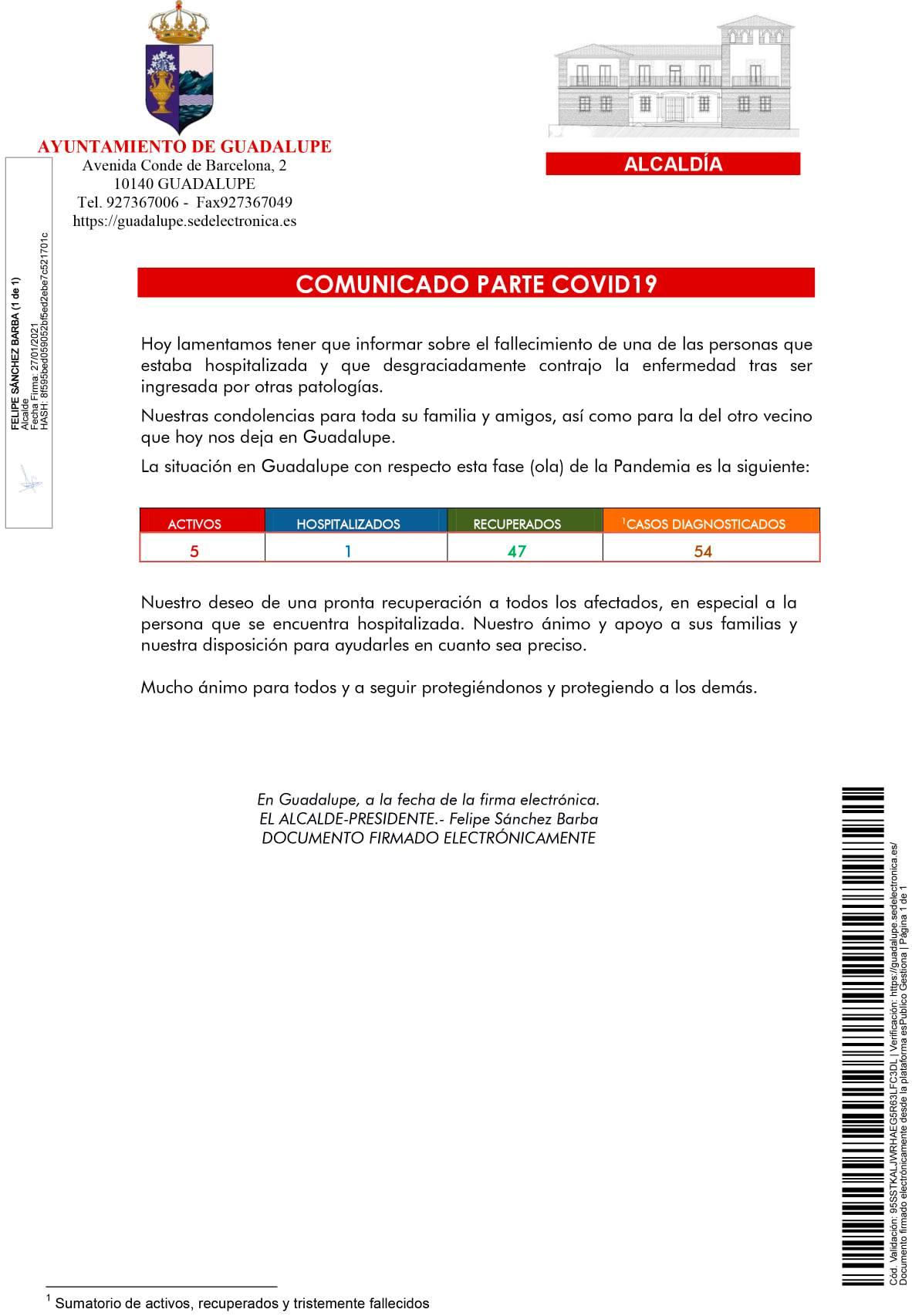 Segundo fallecido y nuevo caso positivo de COVID-19 (enero 2021) - Guadalupe (Cáceres) 1