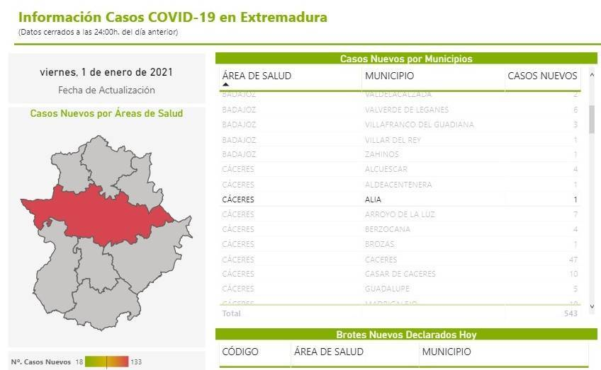 Un caso positivo de COVID-19 (enero 2021) - Alía (Cáceres)
