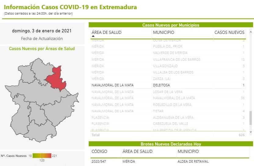 Un caso positivo de COVID-19 (enero 2021) - Deleitosa (Cáceres)