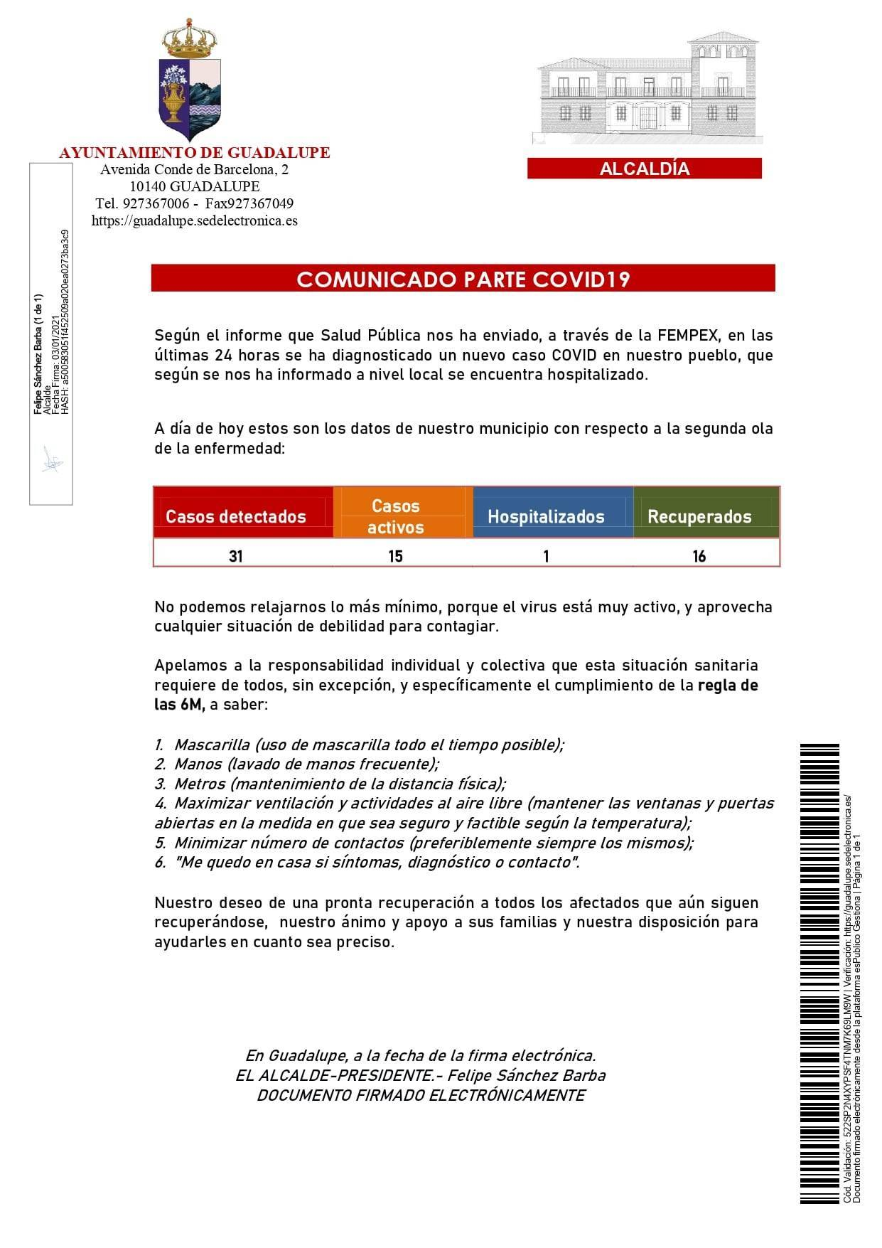 Un hospitalizado y 2 nuevas altas de COVID-19 (enero 2021) - Guadalupe (Cáceres) 1
