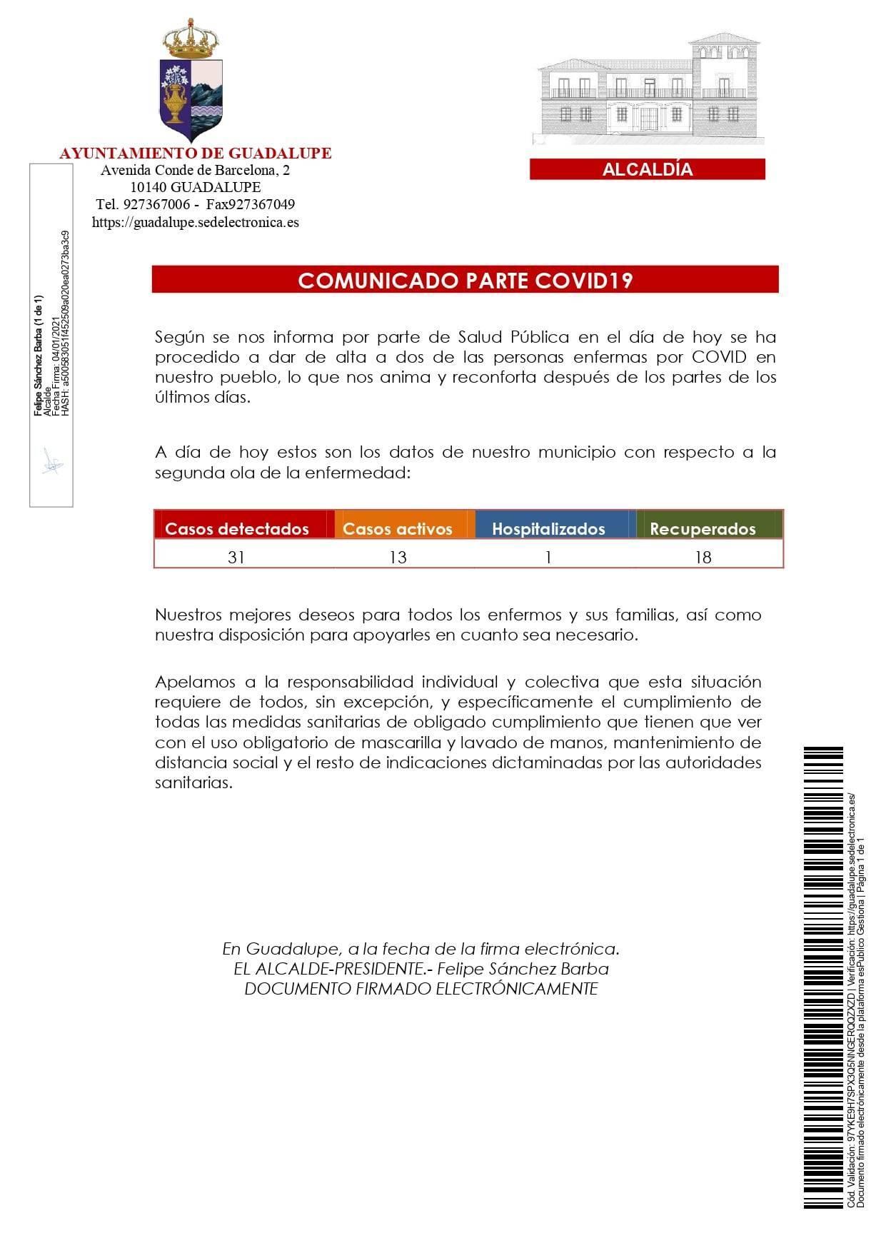 Un hospitalizado y 2 nuevas altas de COVID-19 (enero 2021) - Guadalupe (Cáceres) 2