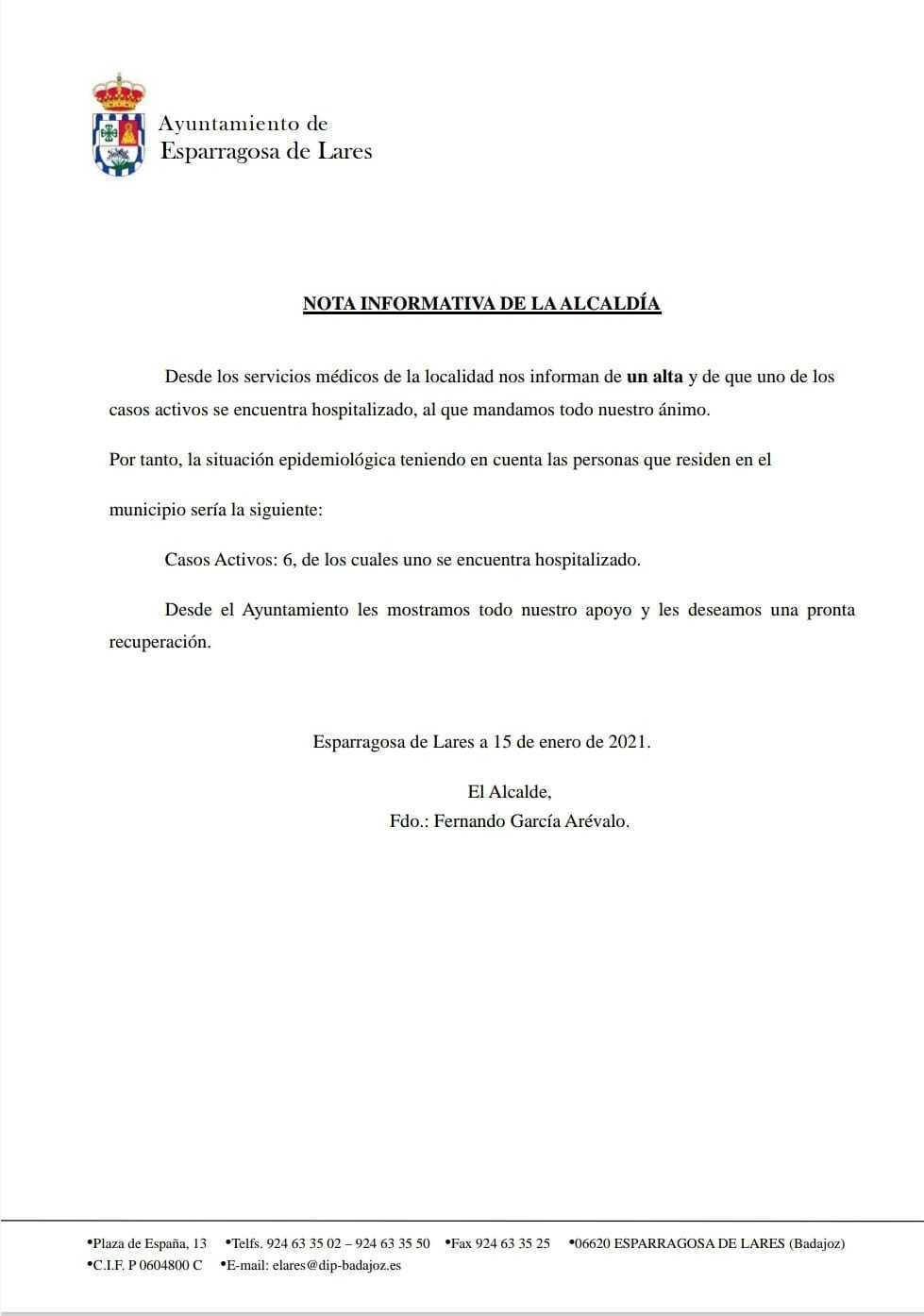 Un hospitalizado y un alta de COVID-19 (enero 2021) - Esparragosa de Lares (Badajoz)