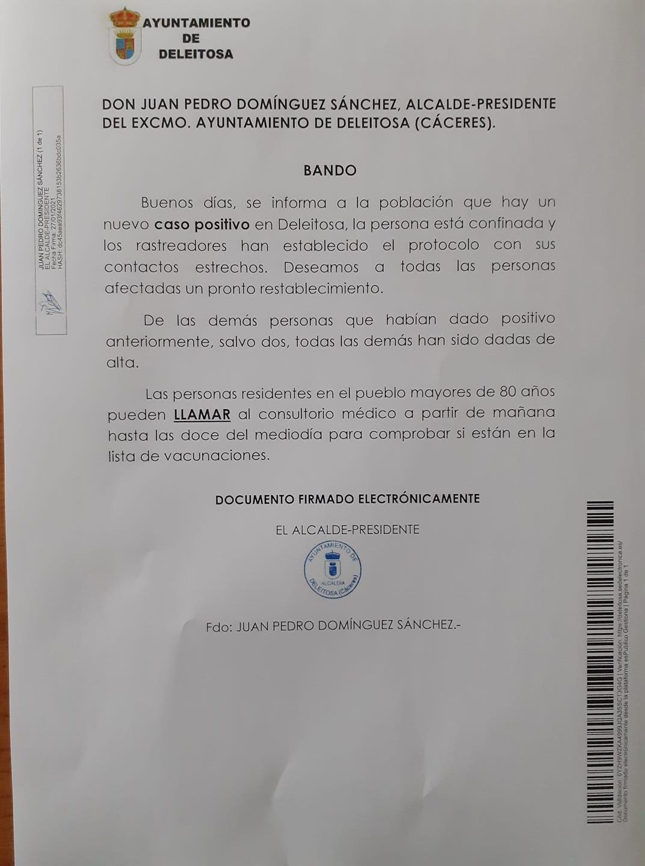 Un nuevo caso positivo de COVID-19 (enero 2021) - Deleitosa (Cáceres)