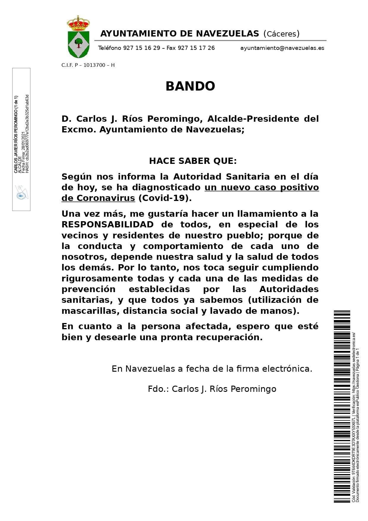 Un nuevo caso positivo de COVID-19 (enero 2021) - Navezuelas (Cáceres)